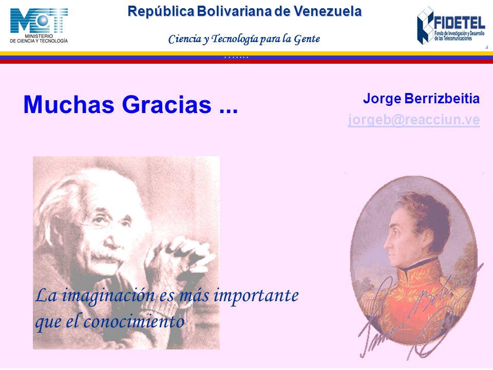 Muchas Gracias ... Jorge Berrizbeitia. jorgeb@reacciun.ve.