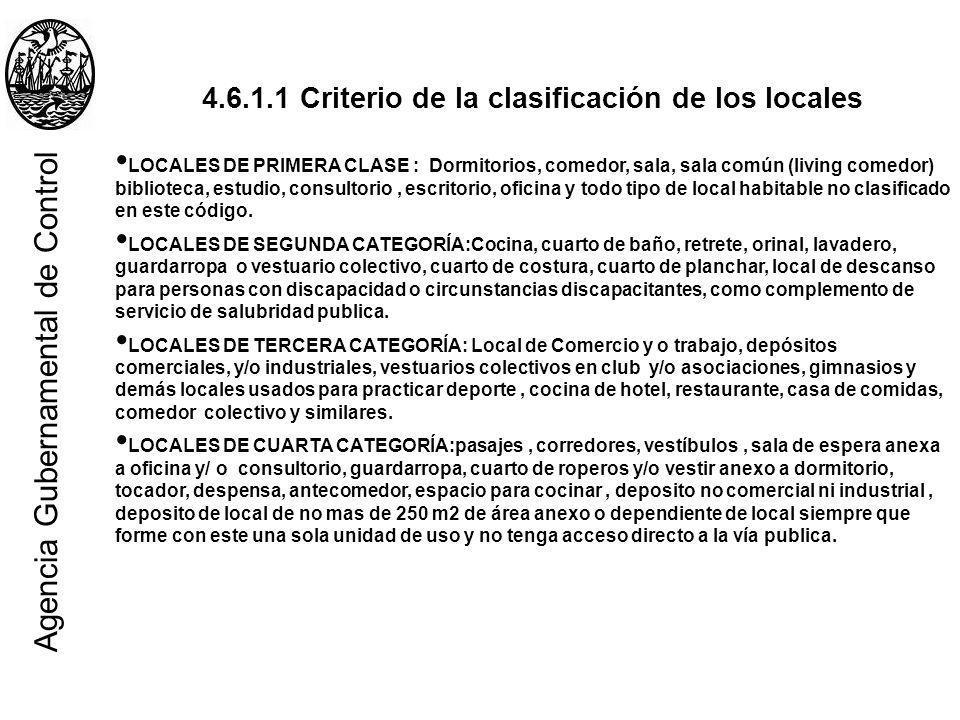 4.6.1.1 Criterio de la clasificación de los locales