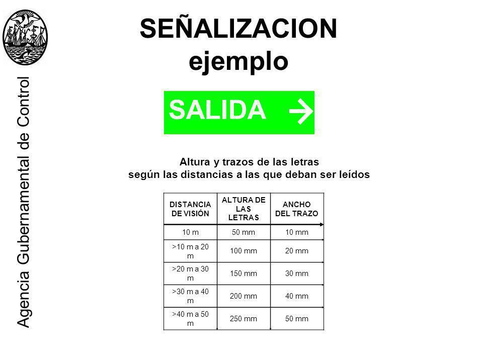 SEÑALIZACION ejemplo SALIDA Agencia Gubernamental de Control