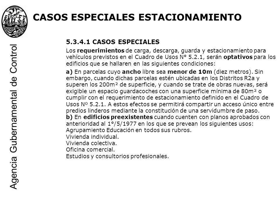 CASOS ESPECIALES ESTACIONAMIENTO