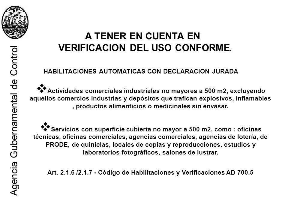 Agencia Gubernamental de Control A TENER EN CUENTA EN