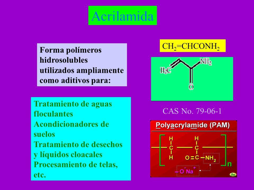 Acrilamida CH2=CHCONH2. Forma polímeros hidrosolubles utilizados ampliamente como aditivos para: