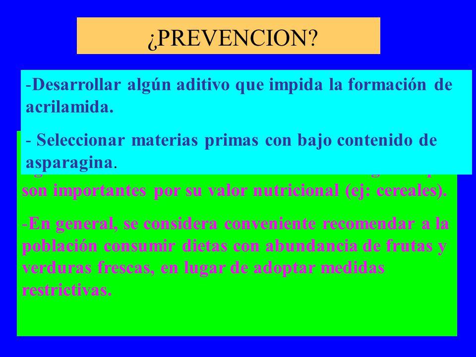 ¿PREVENCION Desarrollar algún aditivo que impida la formación de acrilamida. Seleccionar materias primas con bajo contenido de asparagina.