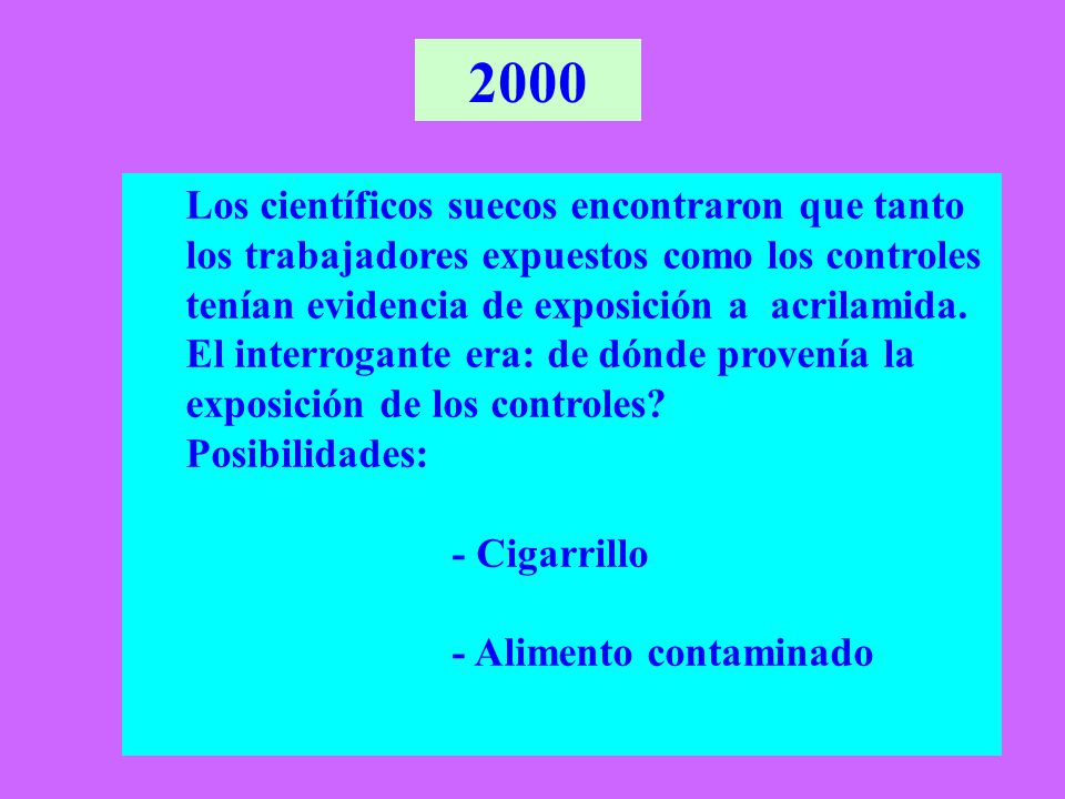 2000 Los científicos suecos encontraron que tanto los trabajadores expuestos como los controles tenían evidencia de exposición a acrilamida.