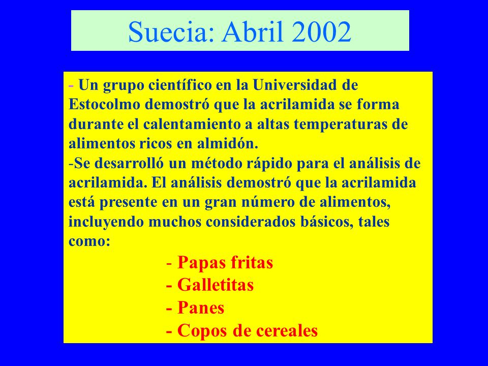 Suecia: Abril 2002 Papas fritas - Galletitas - Panes