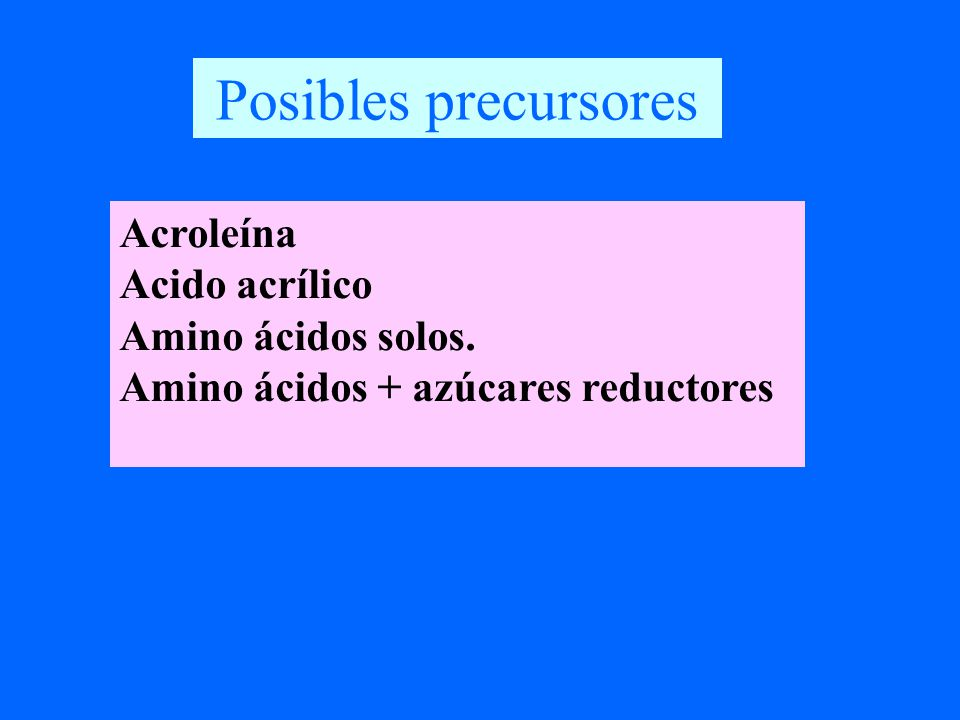 Posibles precursores Acroleína Acido acrílico Amino ácidos solos.