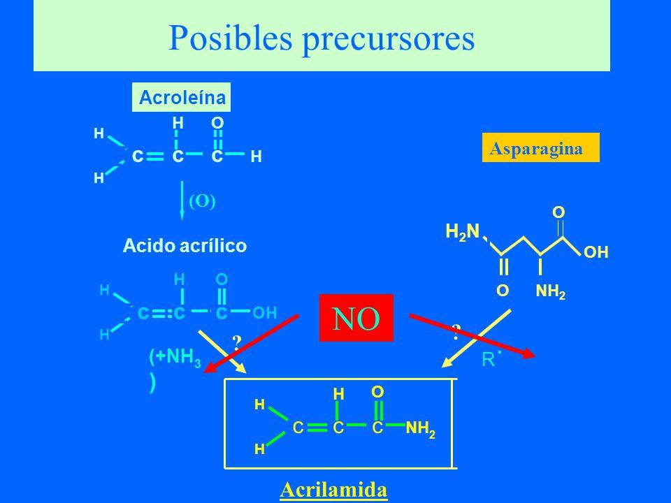 Posibles precursores NO c c c c c c c c c Acrilamida Acroleína