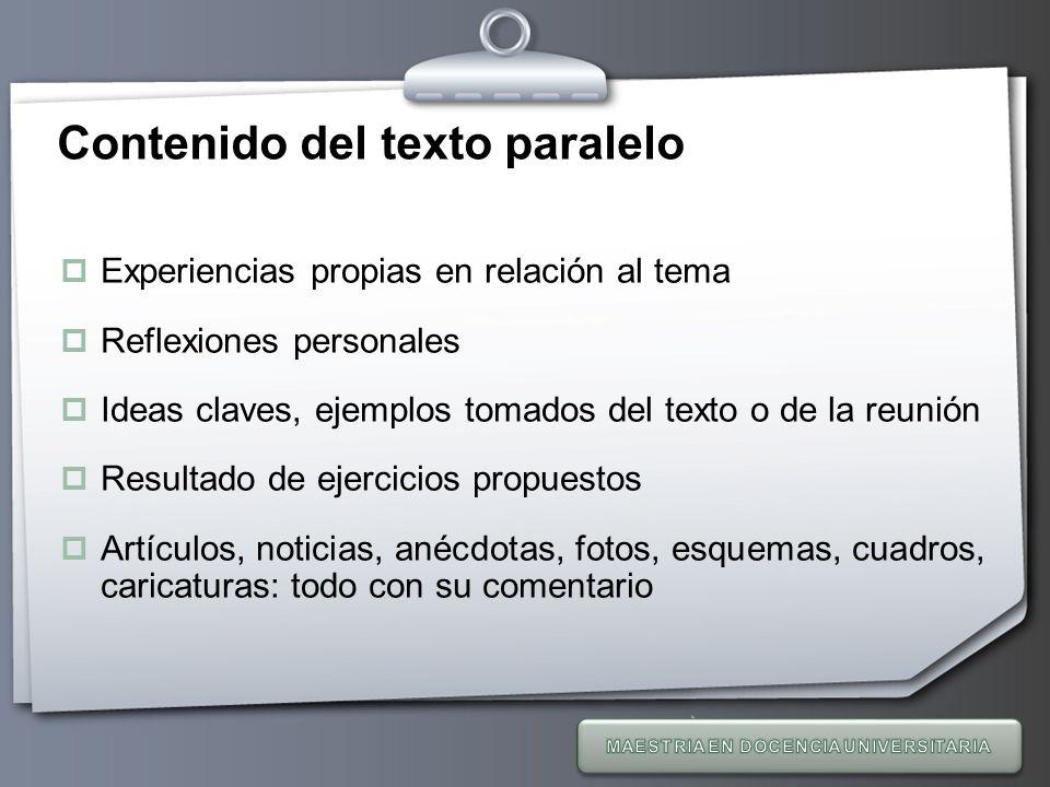 Contenido del texto paralelo