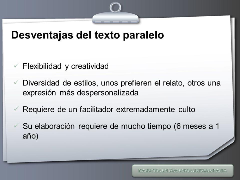 Desventajas del texto paralelo