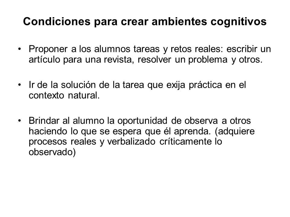 Condiciones para crear ambientes cognitivos