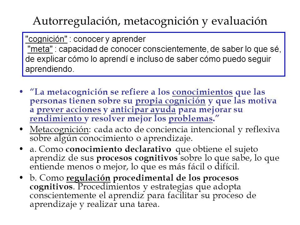 Autorregulación, metacognición y evaluación