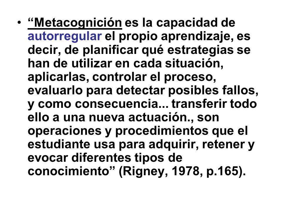 Metacognición es la capacidad de autorregular el propio aprendizaje, es decir, de planificar qué estrategias se han de utilizar en cada situación, aplicarlas, controlar el proceso, evaluarlo para detectar posibles fallos, y como consecuencia...