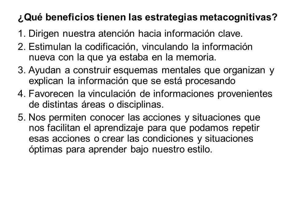 ¿Qué beneficios tienen las estrategias metacognitivas