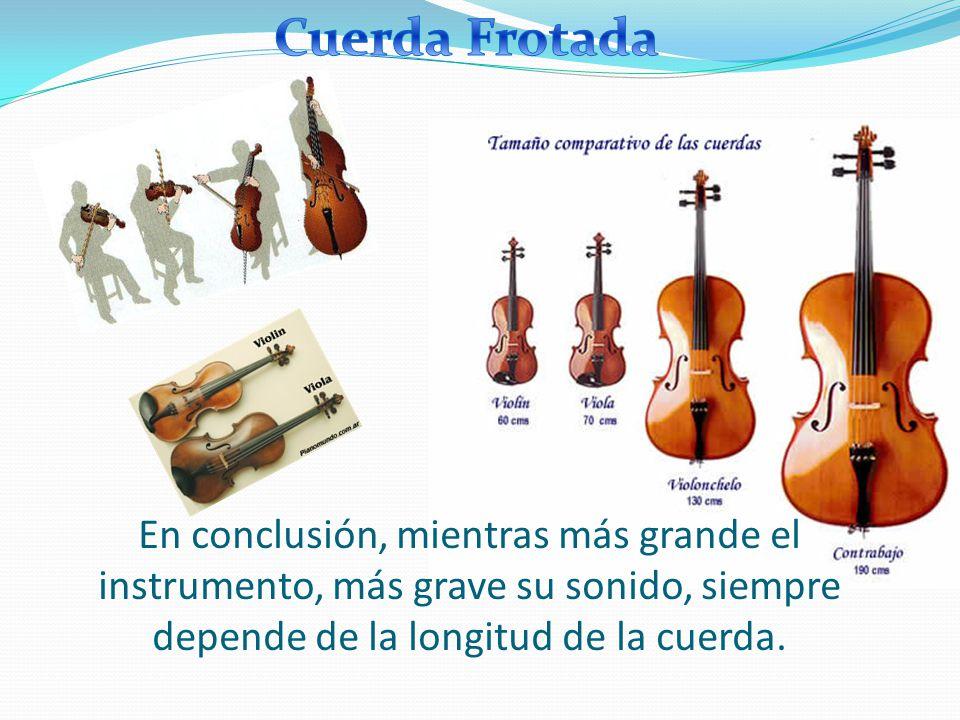 Cuerda Frotada En conclusión, mientras más grande el instrumento, más grave su sonido, siempre depende de la longitud de la cuerda.