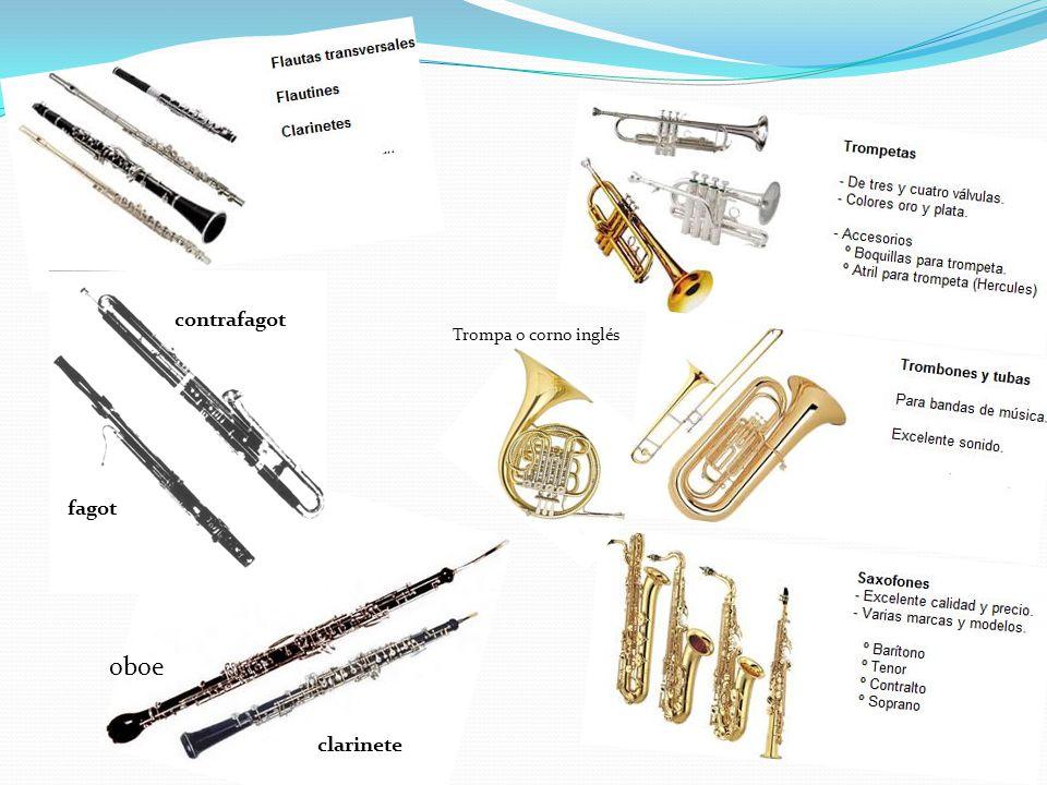 contrafagot Trompa o corno inglés fagot oboe clarinete