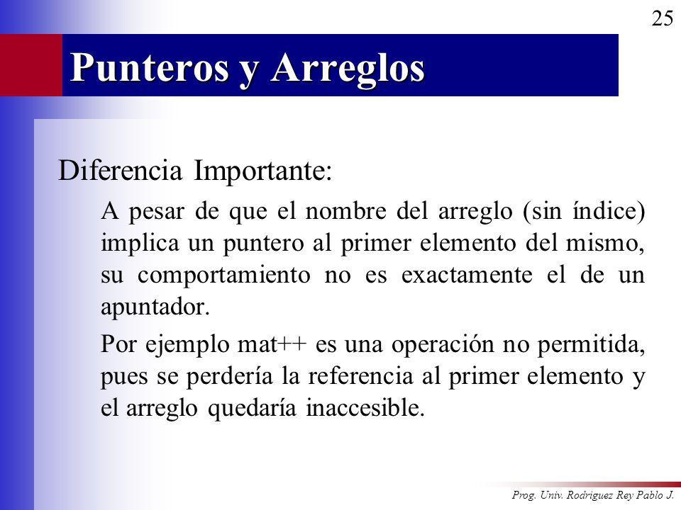 Punteros y Arreglos Diferencia Importante: