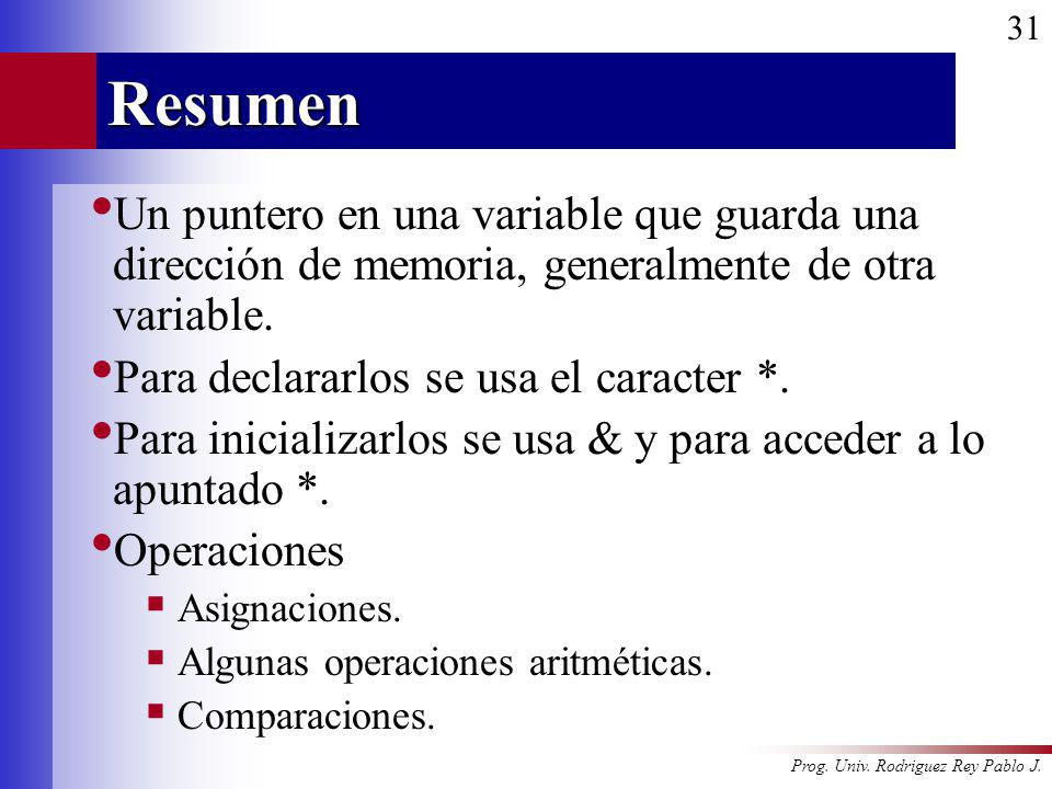 Resumen Un puntero en una variable que guarda una dirección de memoria, generalmente de otra variable.
