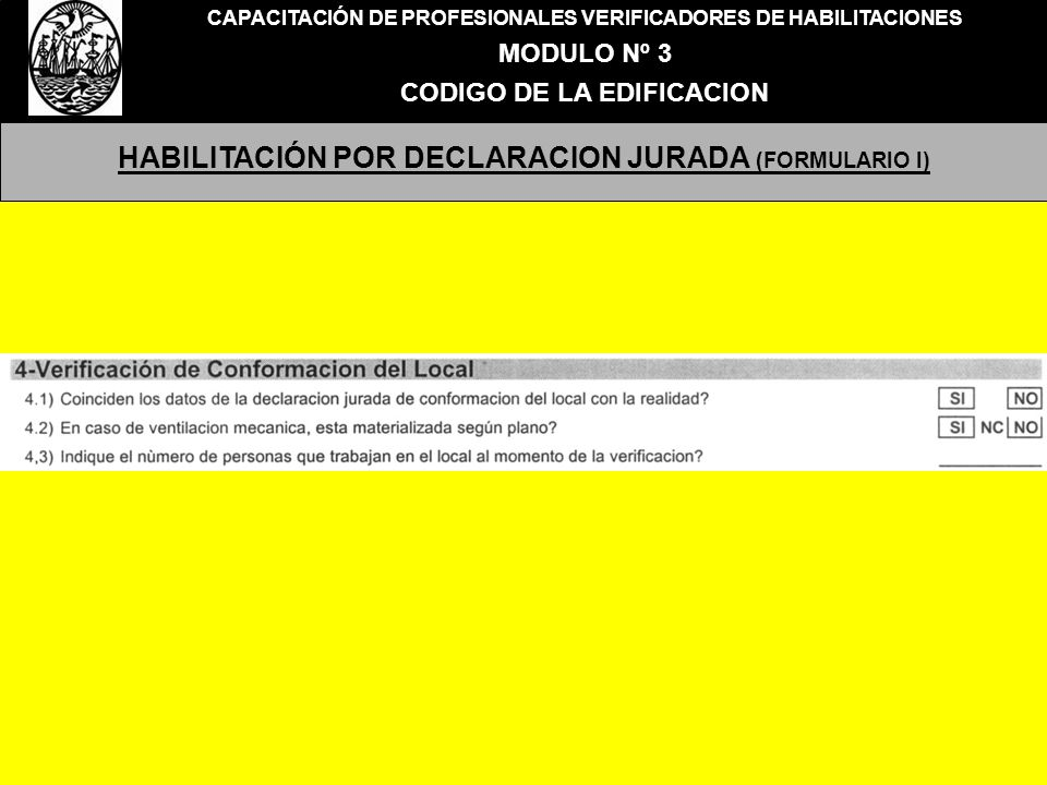 HABILITACIÓN POR DECLARACION JURADA (FORMULARIO I)