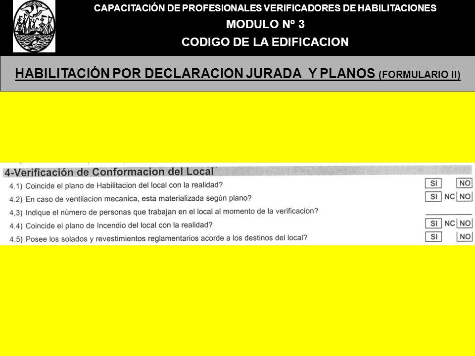 HABILITACIÓN POR DECLARACION JURADA Y PLANOS (FORMULARIO II)