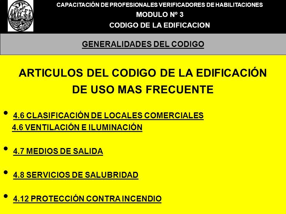ARTICULOS DEL CODIGO DE LA EDIFICACIÓN DE USO MAS FRECUENTE