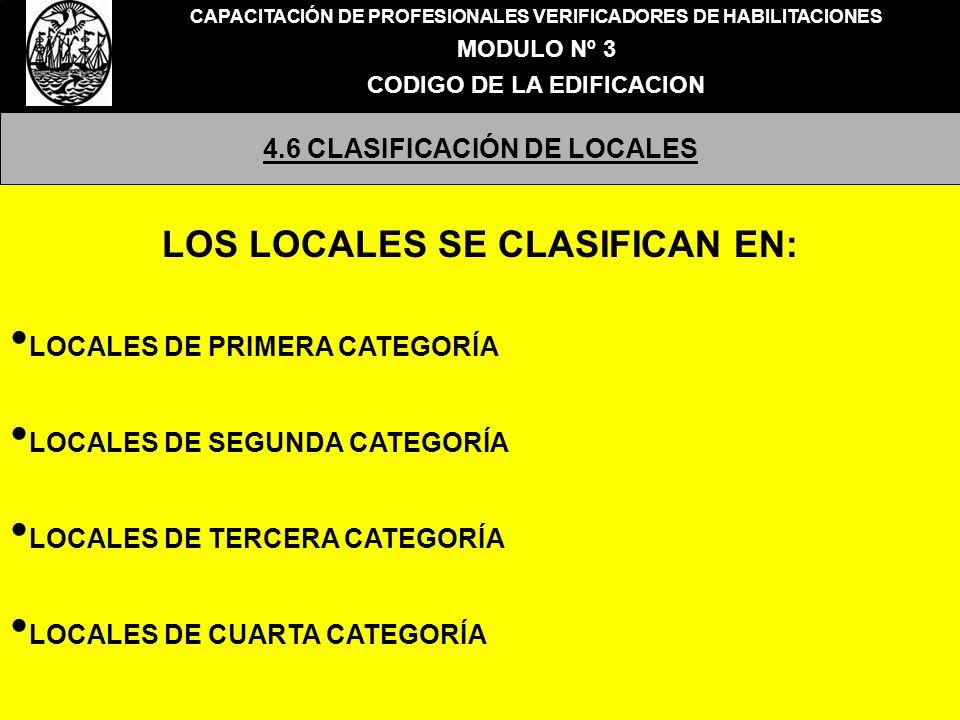 LOS LOCALES SE CLASIFICAN EN: