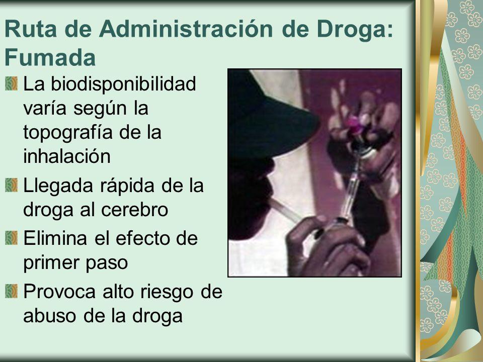 Ruta de Administración de Droga: Fumada