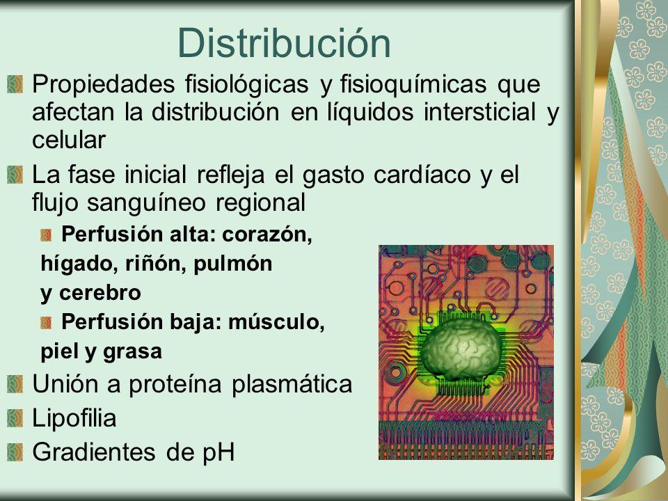 Distribución Propiedades fisiológicas y fisioquímicas que afectan la distribución en líquidos intersticial y celular.