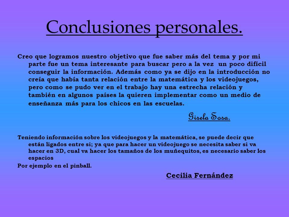 Conclusiones personales.