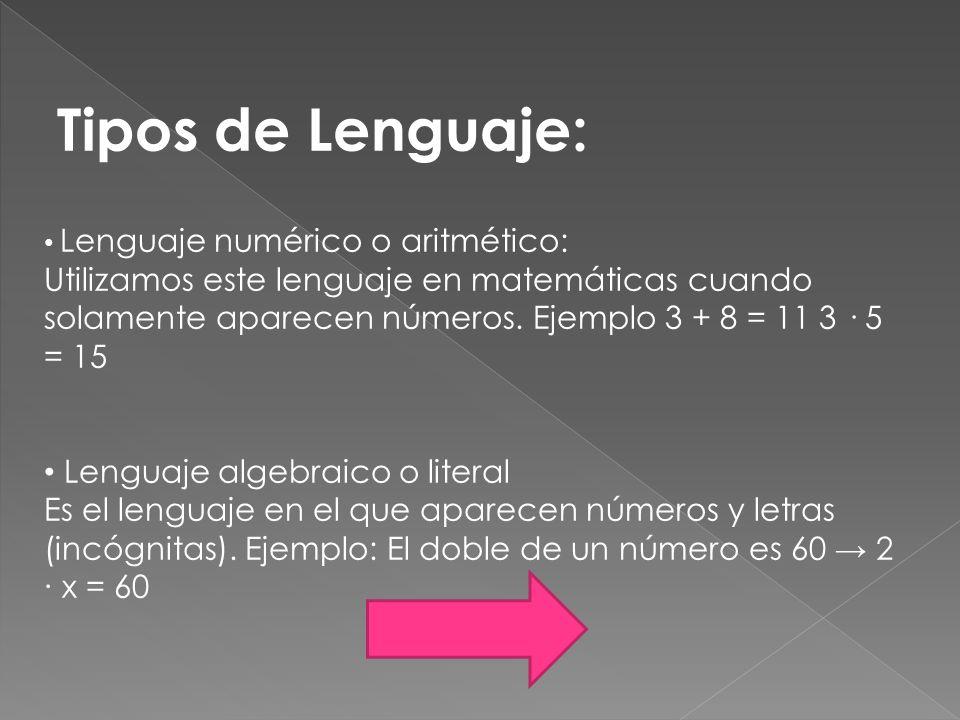 Tipos de Lenguaje: Lenguaje numérico o aritmético:
