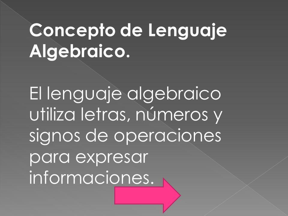 Concepto de Lenguaje Algebraico.