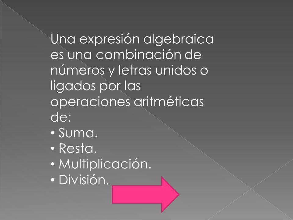 Una expresión algebraica es una combinación de números y letras unidos o ligados por las operaciones aritméticas de: