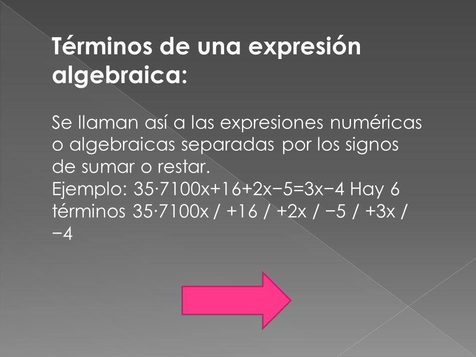 Términos de una expresión algebraica: