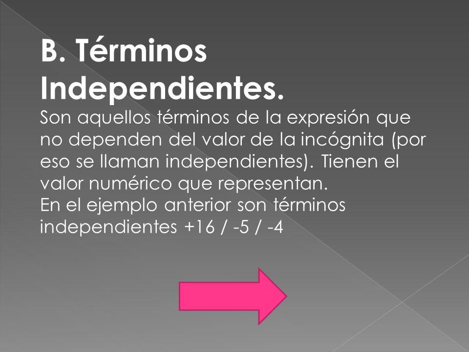 B. Términos Independientes.