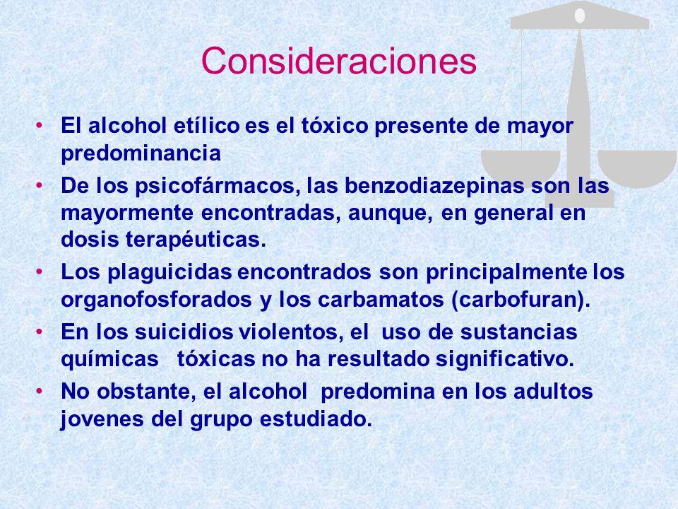 Consideraciones El alcohol etílico es el tóxico presente de mayor predominancia.