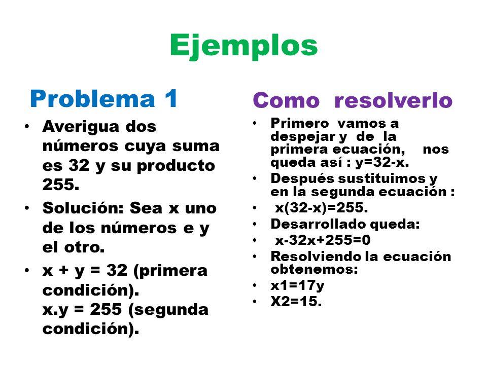 Ejemplos Problema 1 Como resolverlo