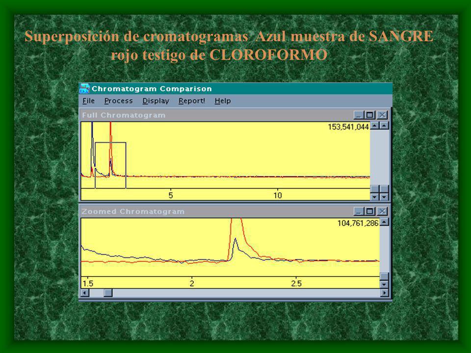 Superposición de cromatogramas Azul muestra de SANGRE