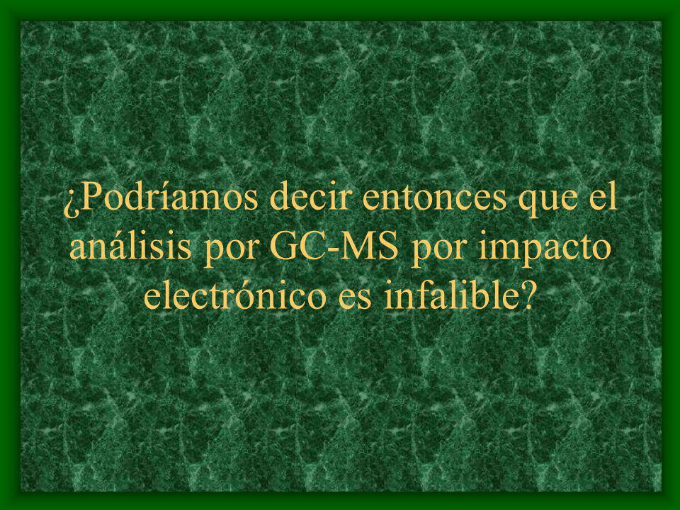 ¿Podríamos decir entonces que el análisis por GC-MS por impacto electrónico es infalible