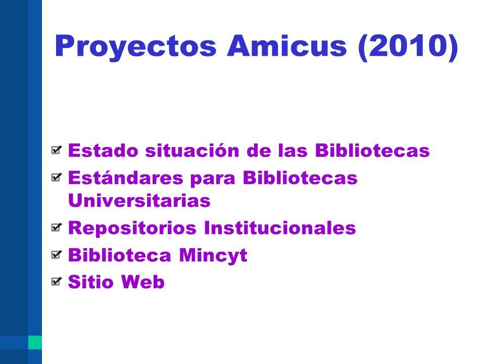 Proyectos Amicus (2010) Estado situación de las Bibliotecas