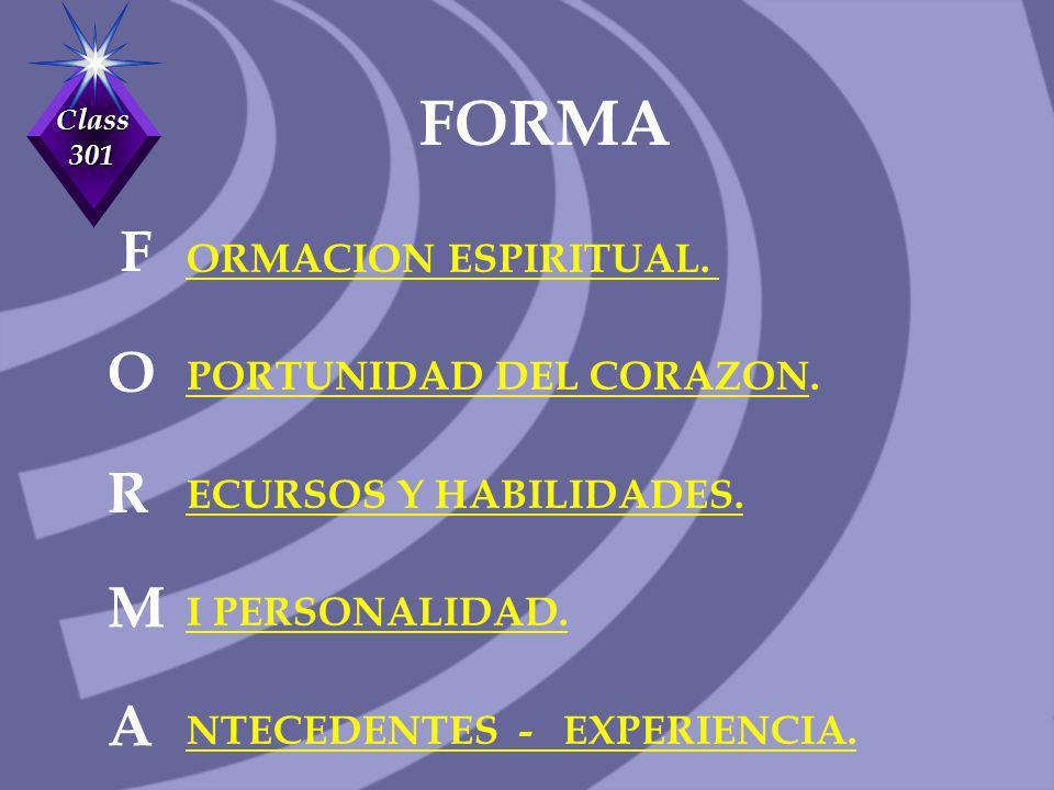 FORMA F O R M A ORMACION ESPIRITUAL. PORTUNIDAD DEL CORAZON.