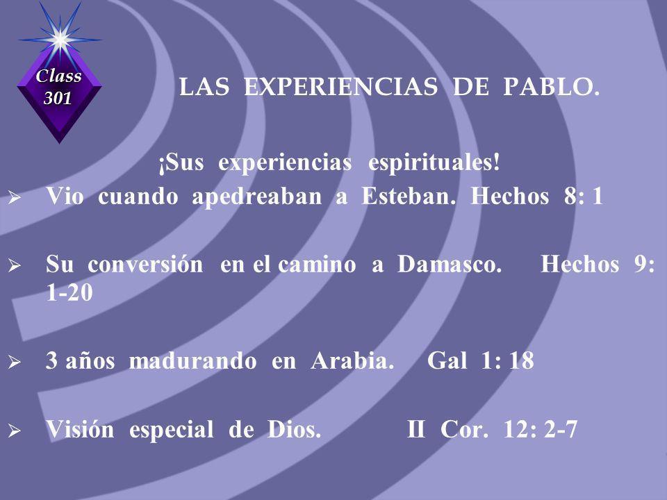 LAS EXPERIENCIAS DE PABLO.