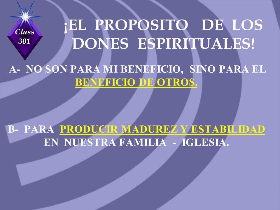 ¡EL PROPOSITO DE LOS DONES ESPIRITUALES!