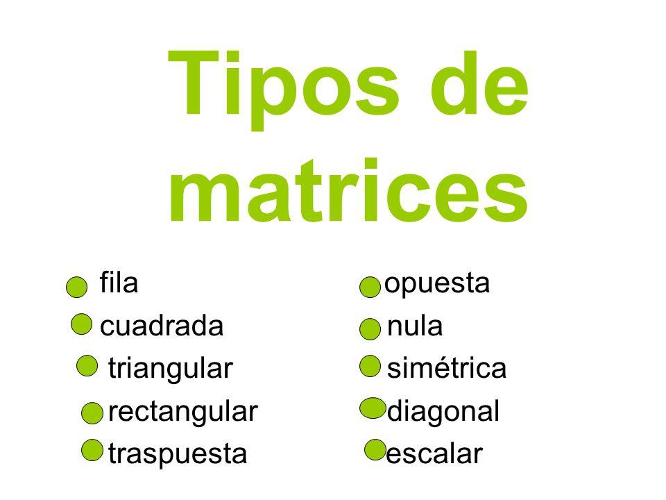 Tipos de matrices fila opuesta cuadrada nula triangular simétrica