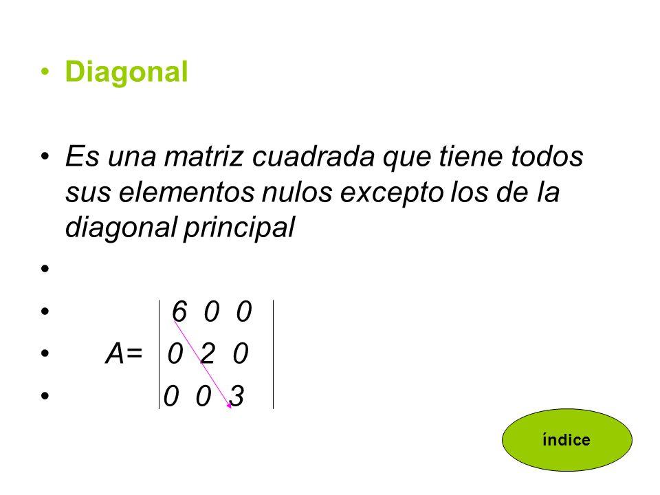 Diagonal Es una matriz cuadrada que tiene todos sus elementos nulos excepto los de la diagonal principal.