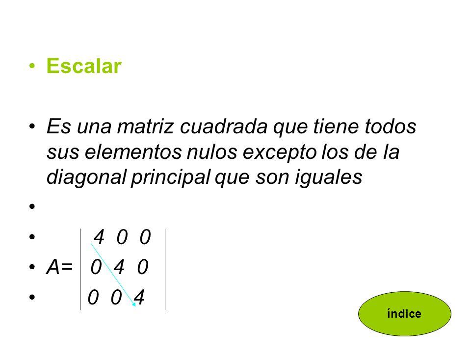 EscalarEs una matriz cuadrada que tiene todos sus elementos nulos excepto los de la diagonal principal que son iguales.