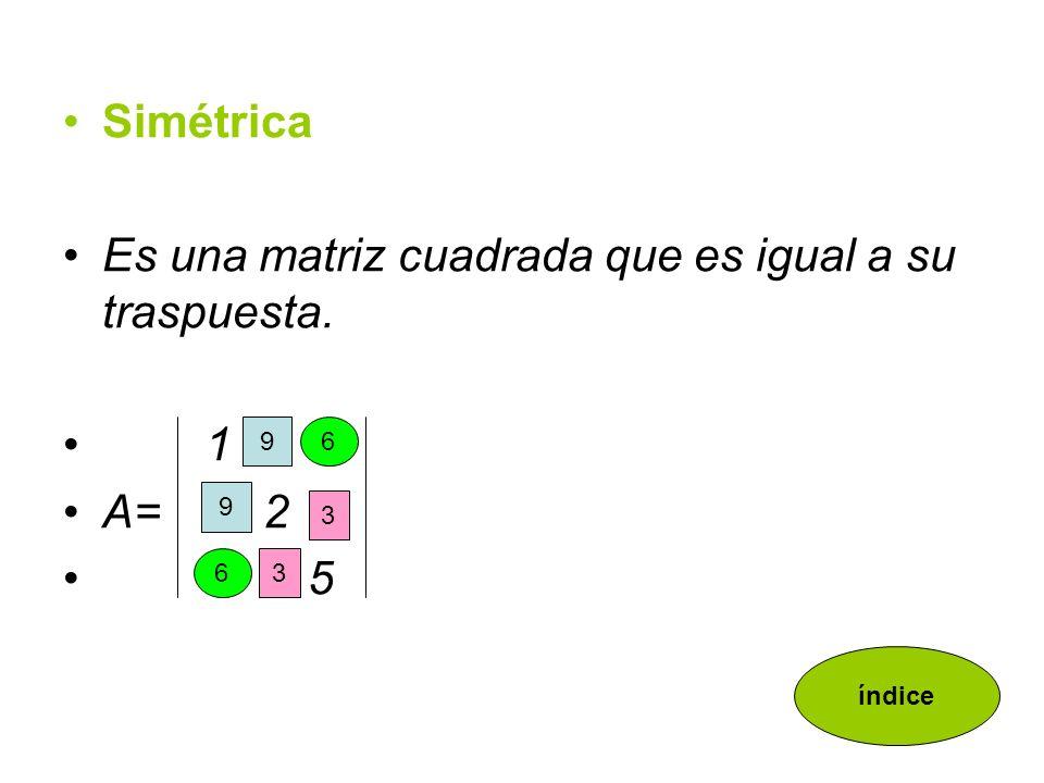 Es una matriz cuadrada que es igual a su traspuesta.