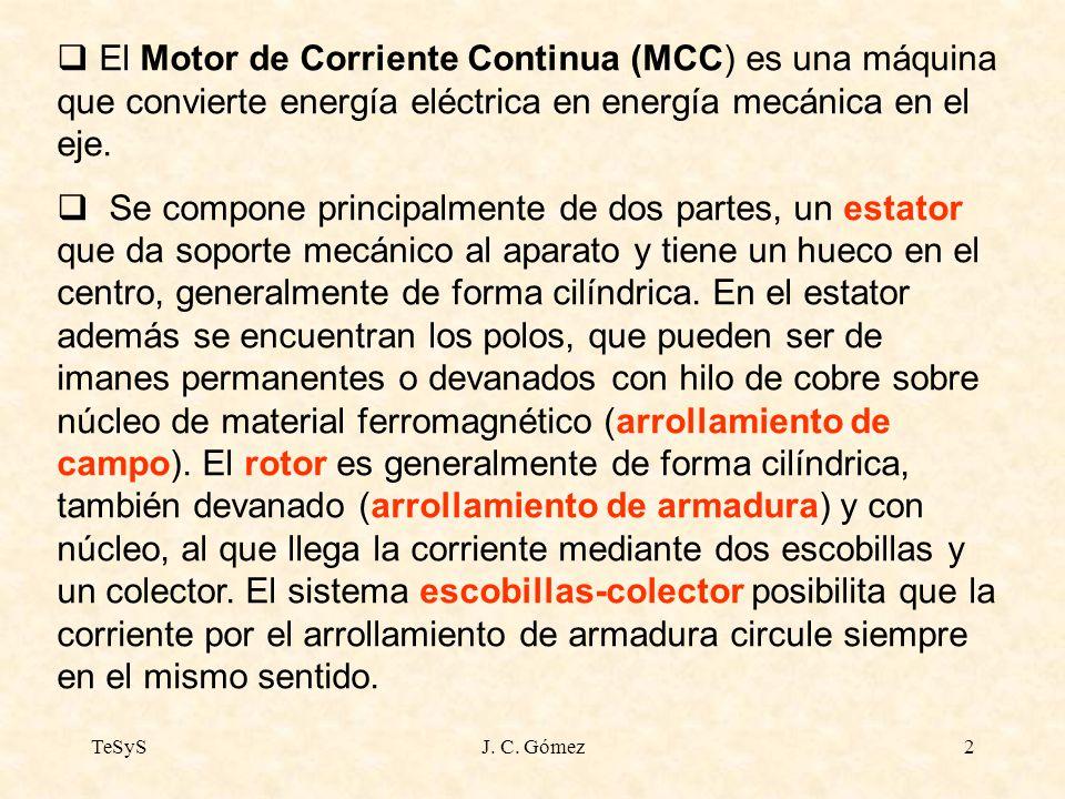 El Motor de Corriente Continua (MCC) es una máquina que convierte energía eléctrica en energía mecánica en el eje.