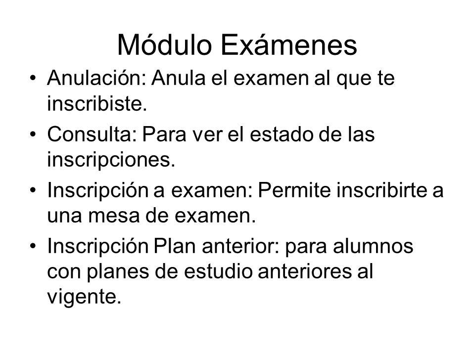 Módulo Exámenes Anulación: Anula el examen al que te inscribiste.