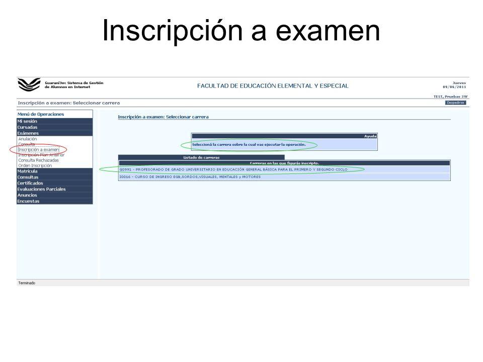 Inscripción a examen