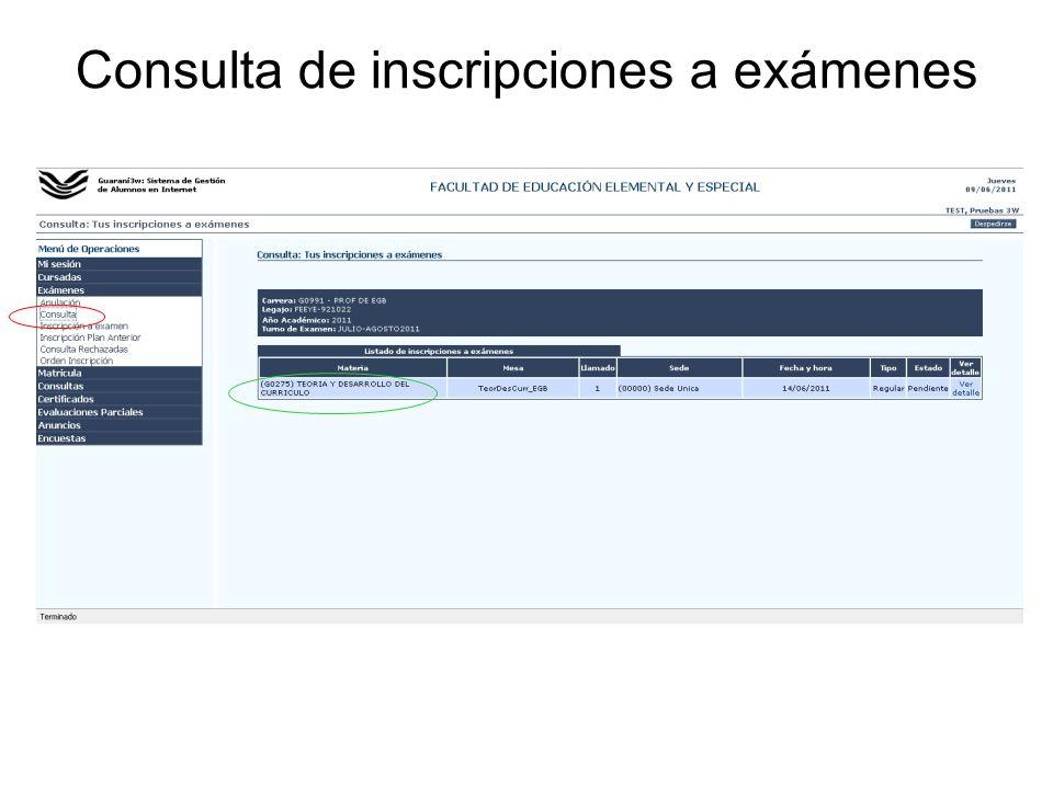 Consulta de inscripciones a exámenes