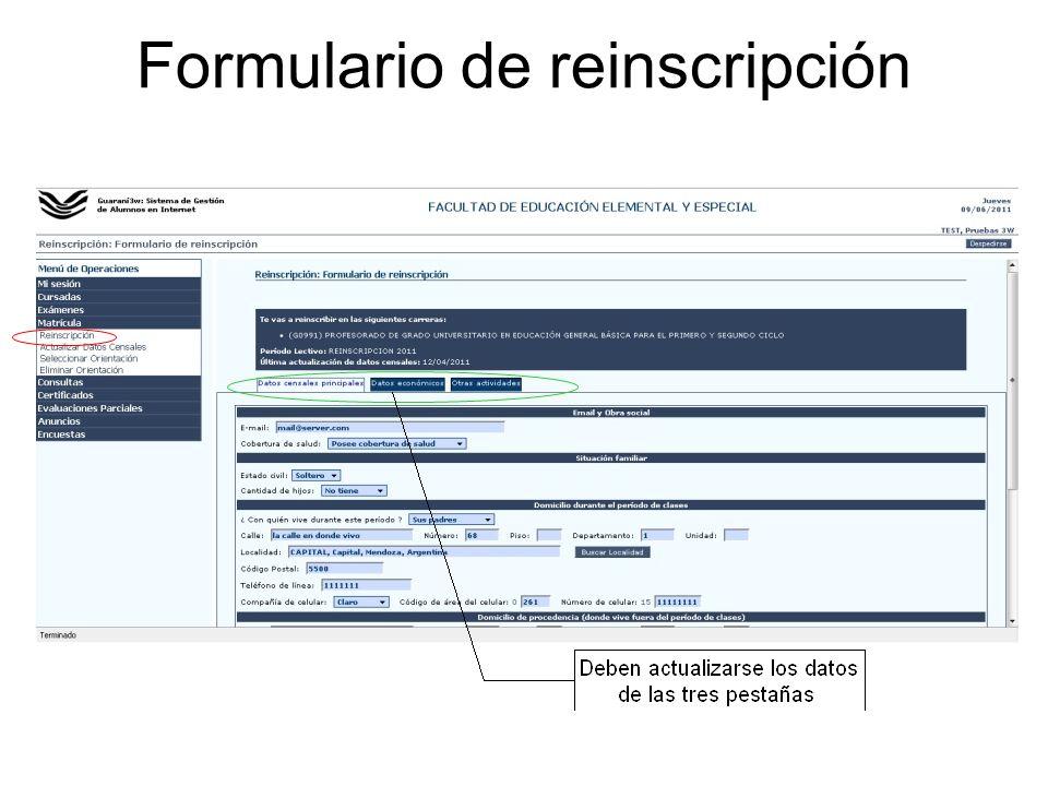 Formulario de reinscripción